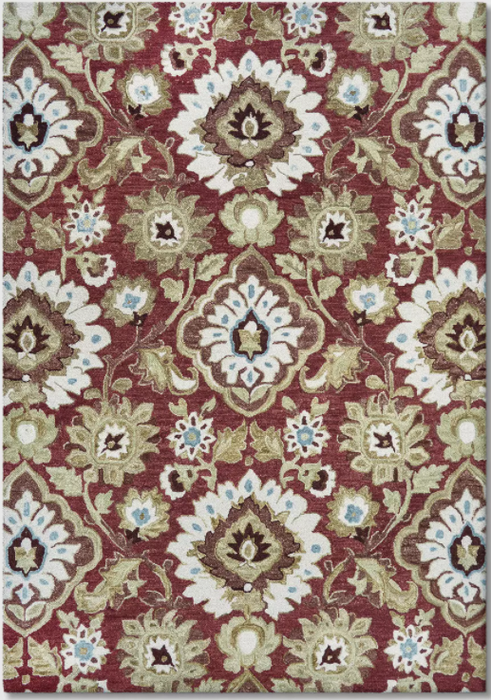 Size 7'X10' Color Red Jacobean Floral Tufted Rug - Threshold™