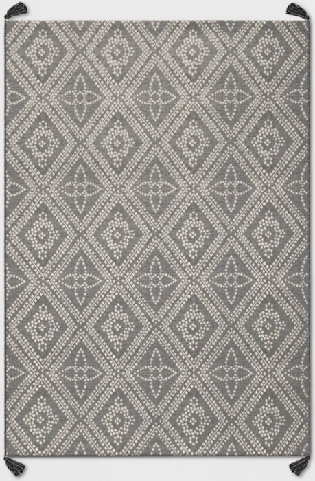 Size 5'x7' Color Charcoal Diamond Tasseled Outdoor Rug - Threshold™