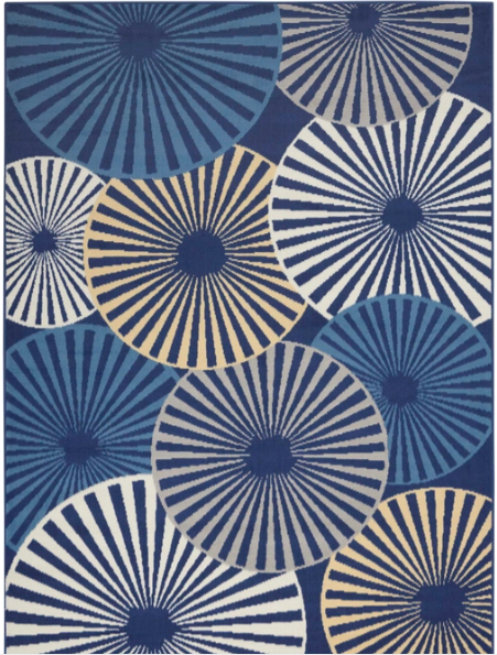 "Size  5'3"" x 7'3"" Pinwheel Color Navy Area Rug By Nourison"