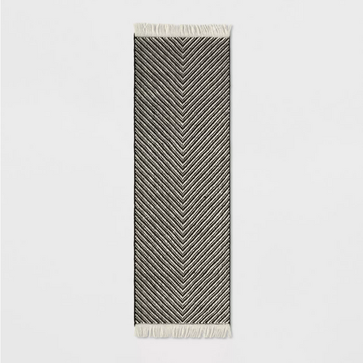 "Size 2'4""X7' RUNNER Color Black/White Chevron Woven Area Rug - Project 62™"