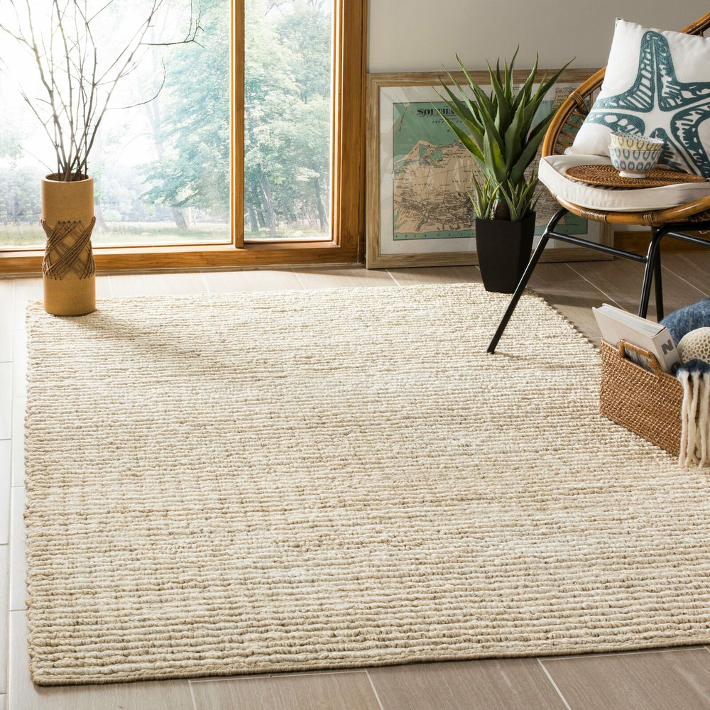 8x10 Color Ivory/Light Gray Margery Solid Woven Rug - Safavieh