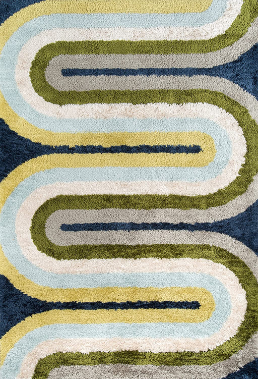 5x8 Color Multicolor Novogratz Retro Collection Retro Wave Shag Area Rug