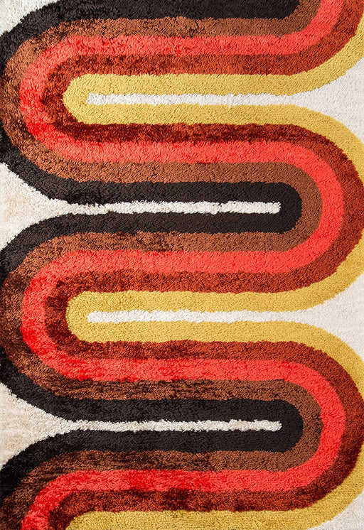 5x8 Red Novogratz Retro Collection Retro Wave Shag Area Rug