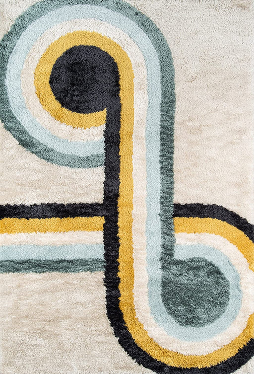 5x8 Blue Novogratz Retro Collection Bullseye Shag Area Rug