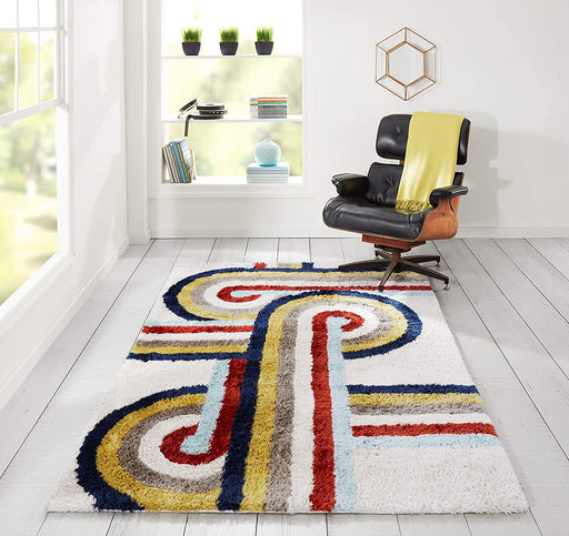 5x8 Multicolor Novogratz Retro Collection Turnstyle Shag Area Rug