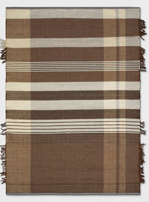 5'X7' Plaid Fringe Cognac Rug Brown