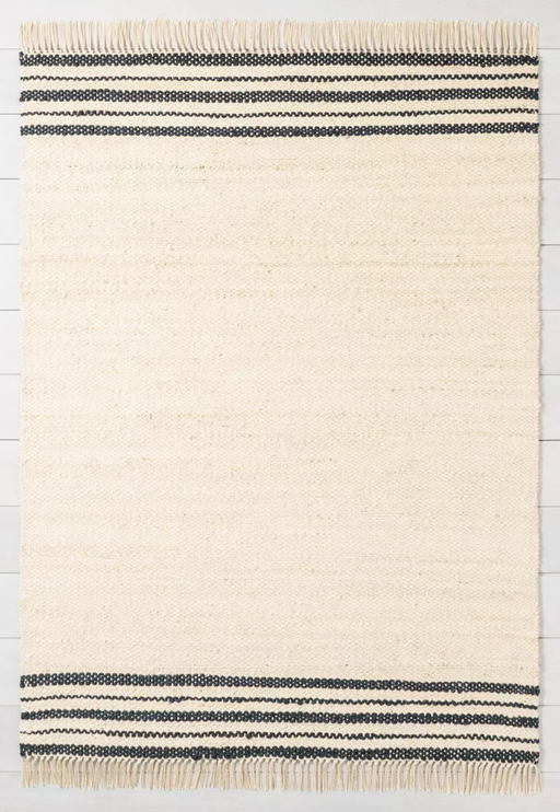 7'x10' Jute Rug Charcoal Stripe Area Rug By Hearth & Hand™ with Magnolia