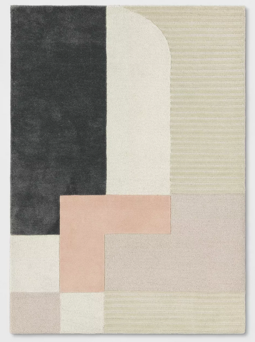 5'X7' Pink/Tan/Black Block Tufted Rug By - Project 62™