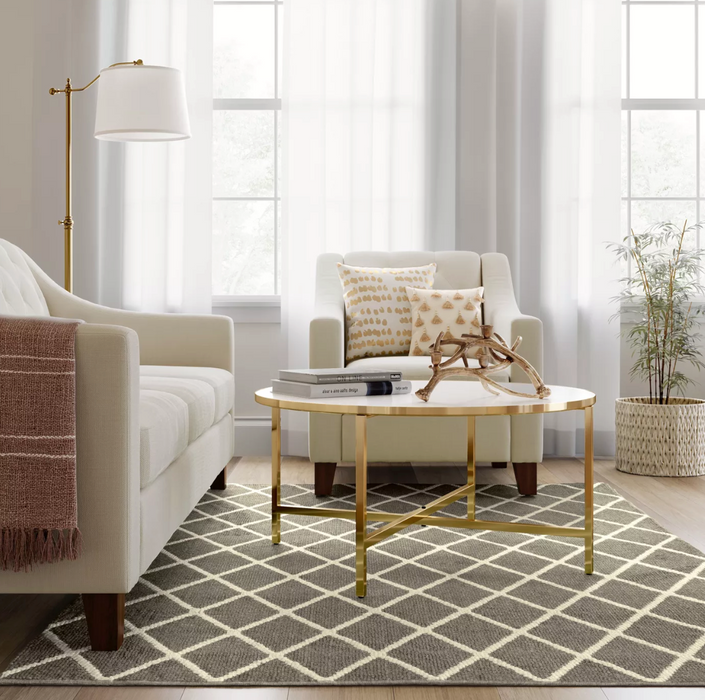 5'X7' Warm Gray Diamond Washable Tufted And Hooked Rug - Threshold™