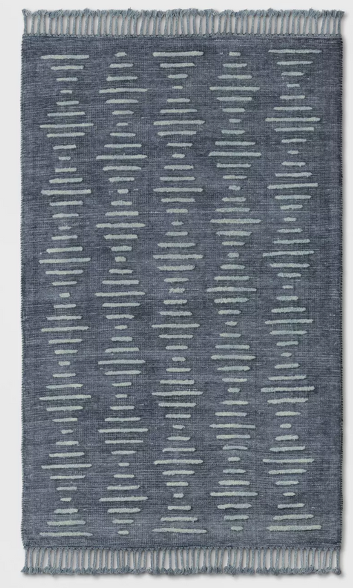 5'X7' Indigo Modern Lines Over tufted Woven Area Rug By - Project 62™