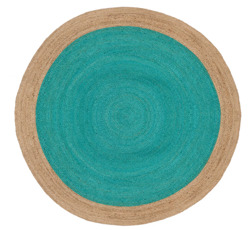8' ROUND Teal/Natural Orick Woven Rug - Safavieh