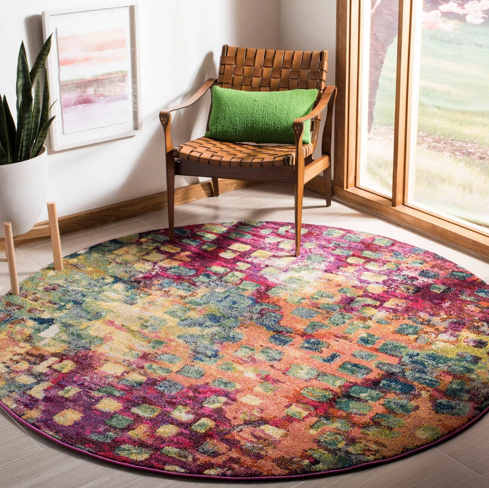 5' ROUND Pink/Multi Zoey Shapes Splatter Loomed Area Rug - Safavieh