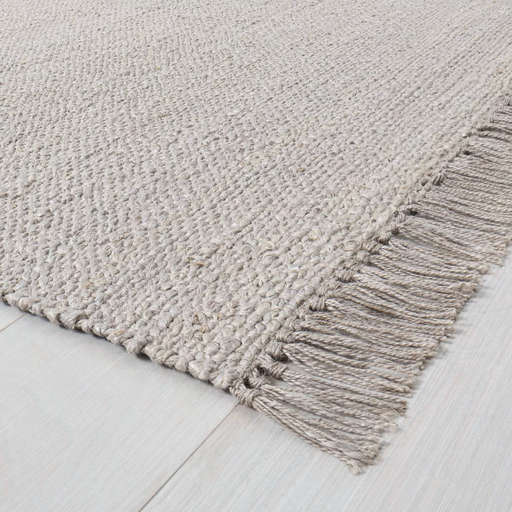 9'x12' Bleached Jute with Fringe Rug Gray - Hearth & Hand™ with Magnolia