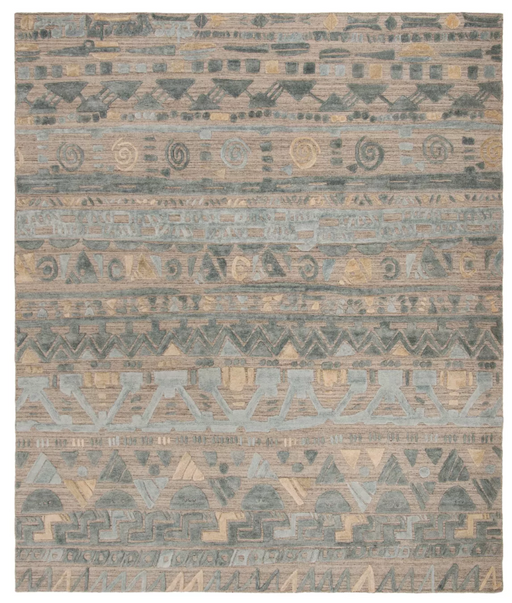 8x10 Color Light Blue/Beige Traci Tribal Design Knotted Area Rug - Safavieh
