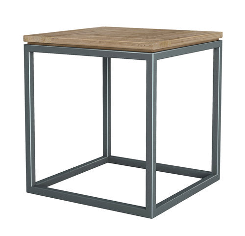 END TABLE - WIRE BRUSHED SOLID TEAK & SILVER IRON