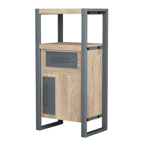 Asta Teak and Iron Side Cabinet, Industrial Modern, Tall Sells For $899 On-Line Sacrifice $150 For A Quick Sale
