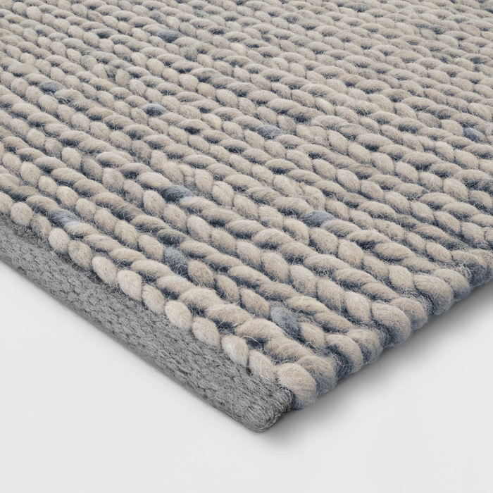 Size 5'x7' Color Gray Chunky Knit Braided Wool Rug - Project 62™