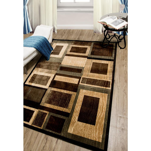 Size 5'x7' Color Black/Brown Bazaar Gal Indoor Area Rug