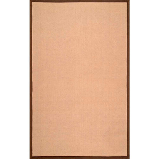 Laurel Solid Bordered Jute Brown 6 ft. x 9 ft. Area Rug by nuLOOM