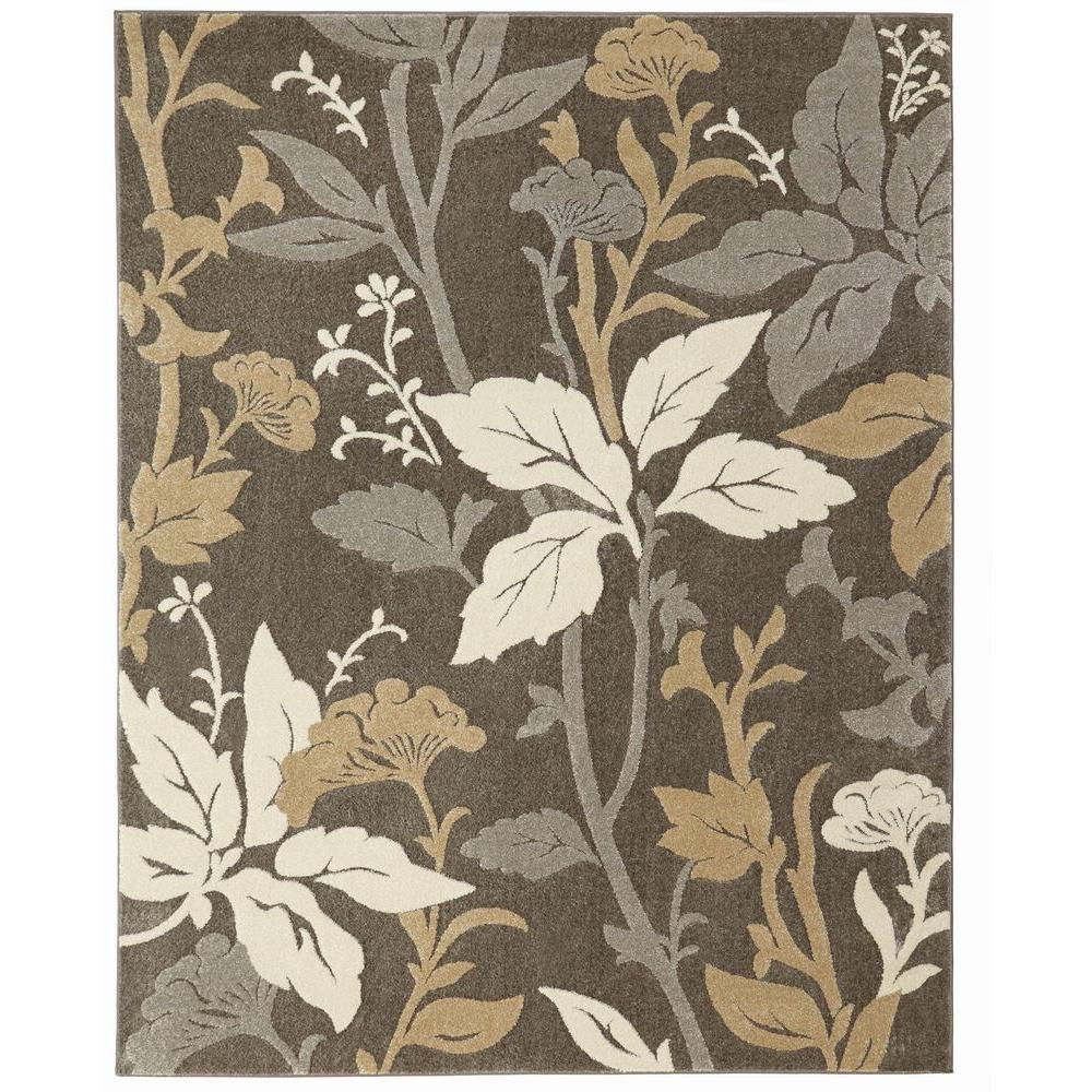 8 ft. x 10 ft. Blooming Flowers Gray Area Rug