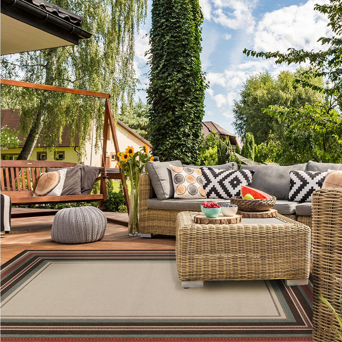 5 ft. x 7 ft. Indoor/Outdoor Border Ivory and Brown Area Rug