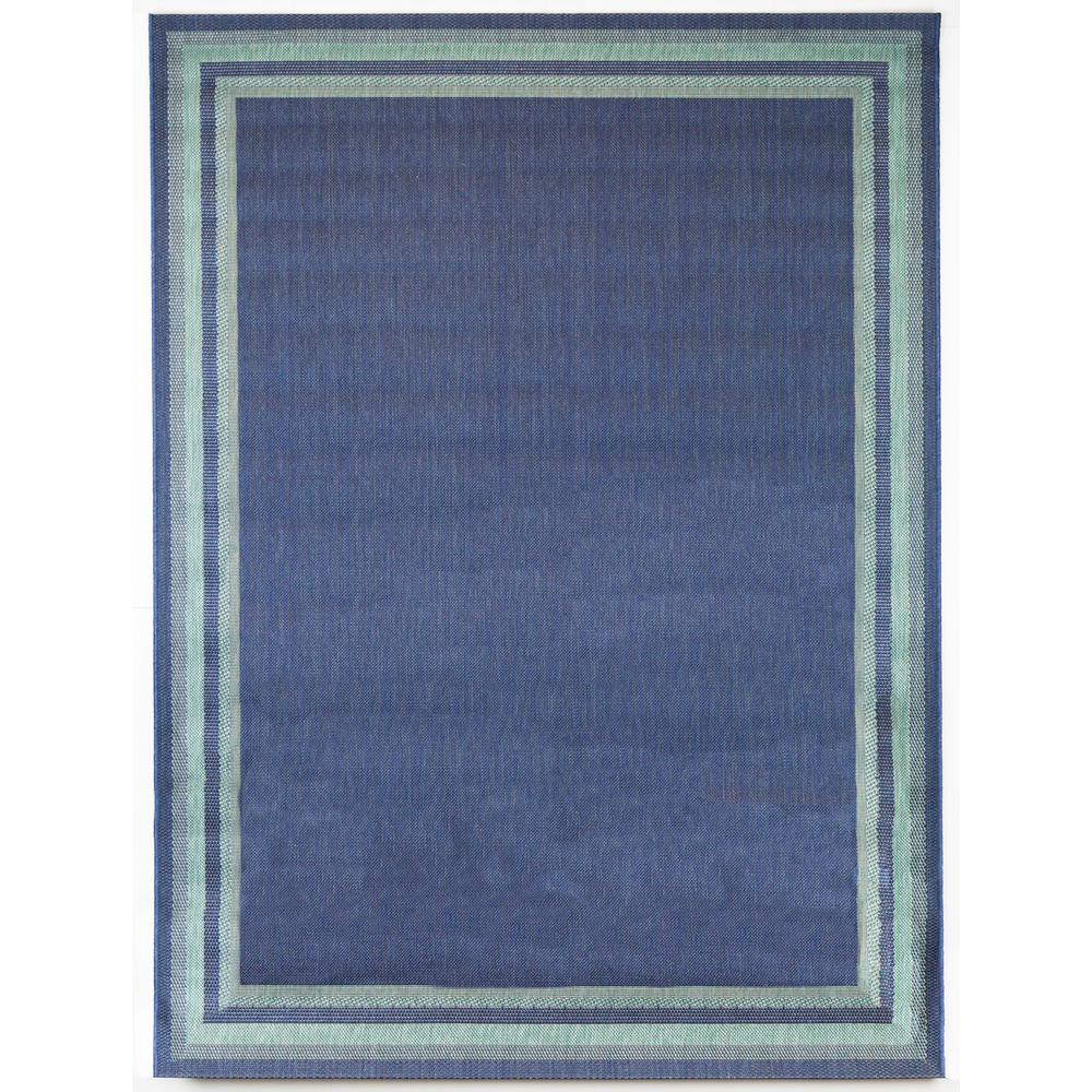 7 ft. 10 in. x 9 ft. 10 in. Indoor/Outdoor Border Aqua Navy Area Rug