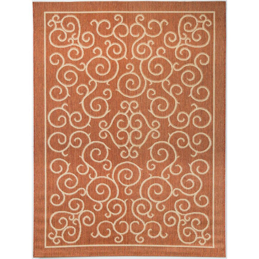 "Hampton Bay Scroll Terracotta 7'10"" ft. x 9'10"" ft. Indoor/Outdoor Area Rug"