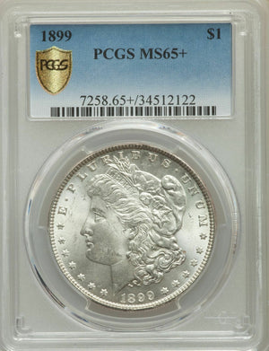1899 US Morgan Silver Dollar $1 - PCGS MS65+In Gold Shield Holder Blast White!!!