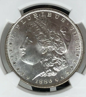 1886 Beautiful Morgan Silver Dollar MS66 NGC