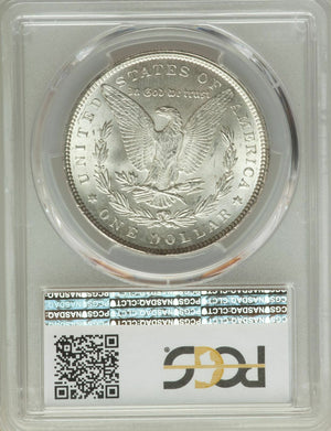 1899 US Morgan Silver Dollar $1 - PCGS MS65+In Gold Shield Holder Blast White!!! CERT-34512122