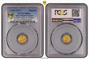 1100-1327 Pagoda Fr.288 Gangas Of Talakad Regular Strike PCGS MS64 Mughal Empire