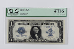 2 CONSECUTIVE 1923 $1 DOLLAR LARGE SILVER CERTIFICATE PAIR PAPER MONEY 238 PCGS 64 PPQ