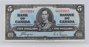 Bank of Canada 1937 $5 BCS Very fine 30 BC-23c Coyne Towers