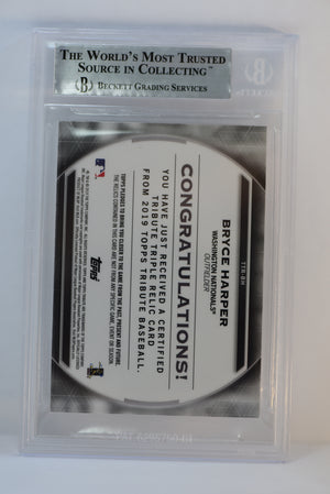 Bryce Harper 2019 Topps Tribute SP ** Triple Relic ** National Phillies #d /150 Beckett Mint 9