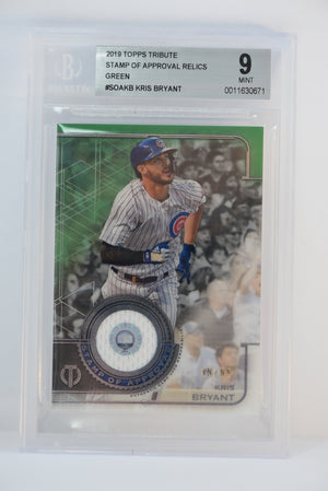 2019 Topps Tribute Kris Bryant 39/99 Stamp Of Approval Relic Green Beckett Mint 9