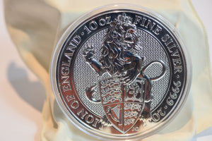 10oz 2017 Queen's Beast Lion of England 9999 Pure Silver Bullion Coin - + Capsule