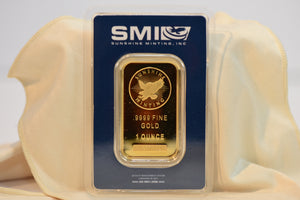 1 OZ Gold Bar Sunshine Mint 9999 Fine Pure With SI Security Feature  SMI