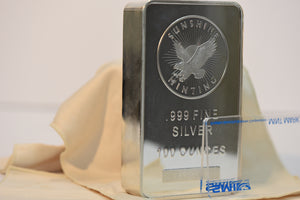 100 oz Sunshine Mint Silver Bar 999 Pure + New SMI Mint Mark!