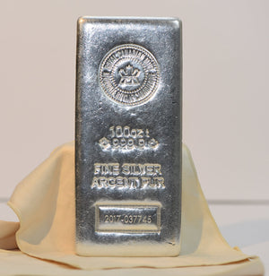 100 oz Royal Canadian Mint New Style Silver Bar 9999 Pure RCM