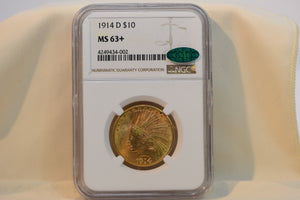 1914-D US Gold $10 Indian Head Eagle - NGC MS63+ CAC!