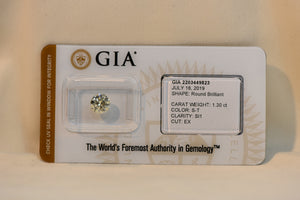 Diamond 1.30 CT SI1 Gia Report # 2203449823 +Security Capsule Sealed & Inscribed!