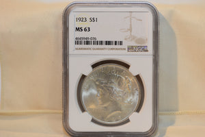 Peace Dollar 1923 S$1 MS 63 NGC 4645949-076