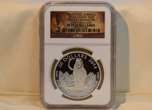2014 Canada 1 oz Proof Silver $20 The Woolly Mammoth NGC PF70 UC