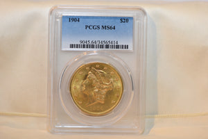 1904 $20 Gold Coin PCGS MS64 Liberty Head U.S. Beautiful & Lustrous.