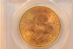1898-S PCGS MS62 20$ Gold Coin CERT VERIFICATION #11346372