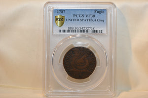 "1787 US Fugio Copper ""Franklin Cent"", 4 Cinq, BN Regular Strike PCGS VF30"