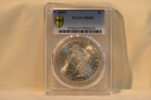 1899 PCGS MORGAN SILVER DOLLAR MS65 GOLD SHIELD PLUS TRUE VIEW RARE LOW MINTAGE !