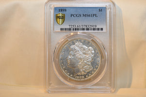 1898 PCGS MORGAN SILVER DOLLAR MS61PL Rare To Find A Proof Like Morgan From 1898!