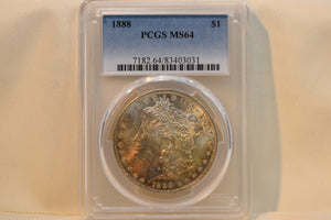 1888 Beautiful Golden Lustre Morgan Silver Dollar PCGS MS64 CERT-83403031