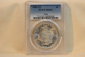 1882-CC MORGAN DOLLAR - PCGS MS-65+ CERT-84080068 GSA